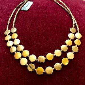 Jewelry - Tri-Color Metal Disc and Beaded Necklace